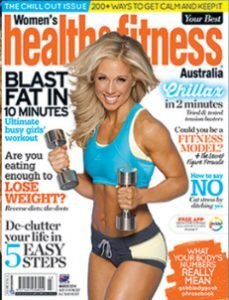 image of Health Fitness magazine cover with online personal trainer Rita Catalino
