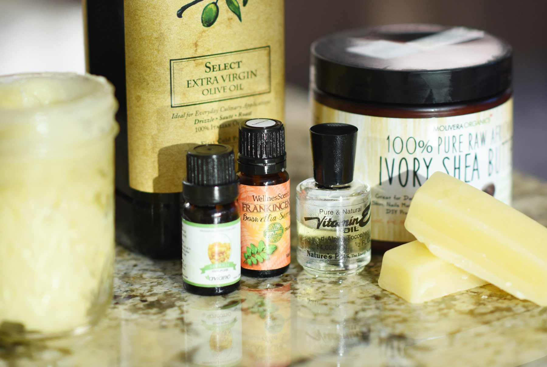photo of ingredients for homemade face and body lotion