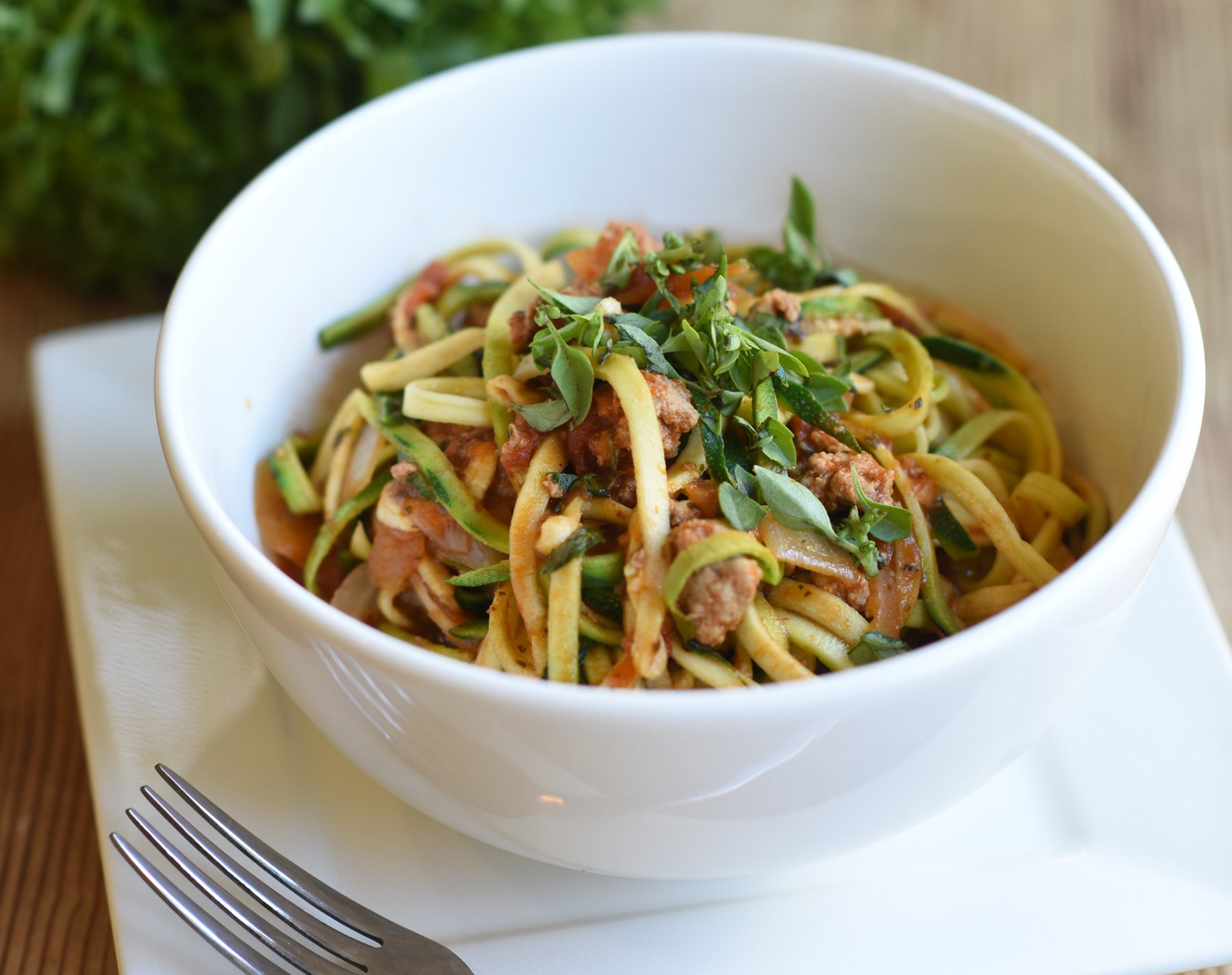 photo of a bowl of zoodles