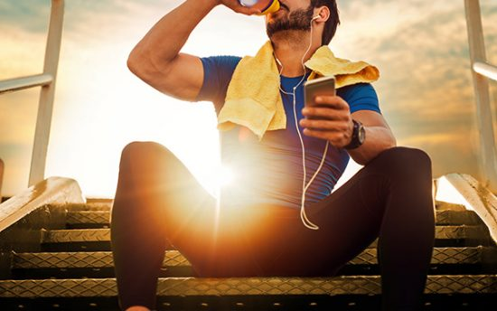 photo of man drinking bone broth protein drink for building muscle mass