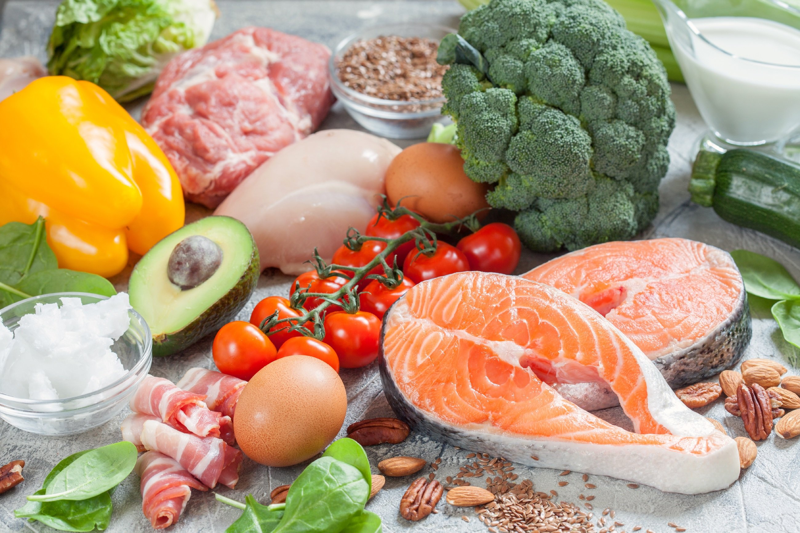 practice healthy eating habits by eating healthy foods like the ones here: salmon, broccoli, tomatoes, avocado, eggs