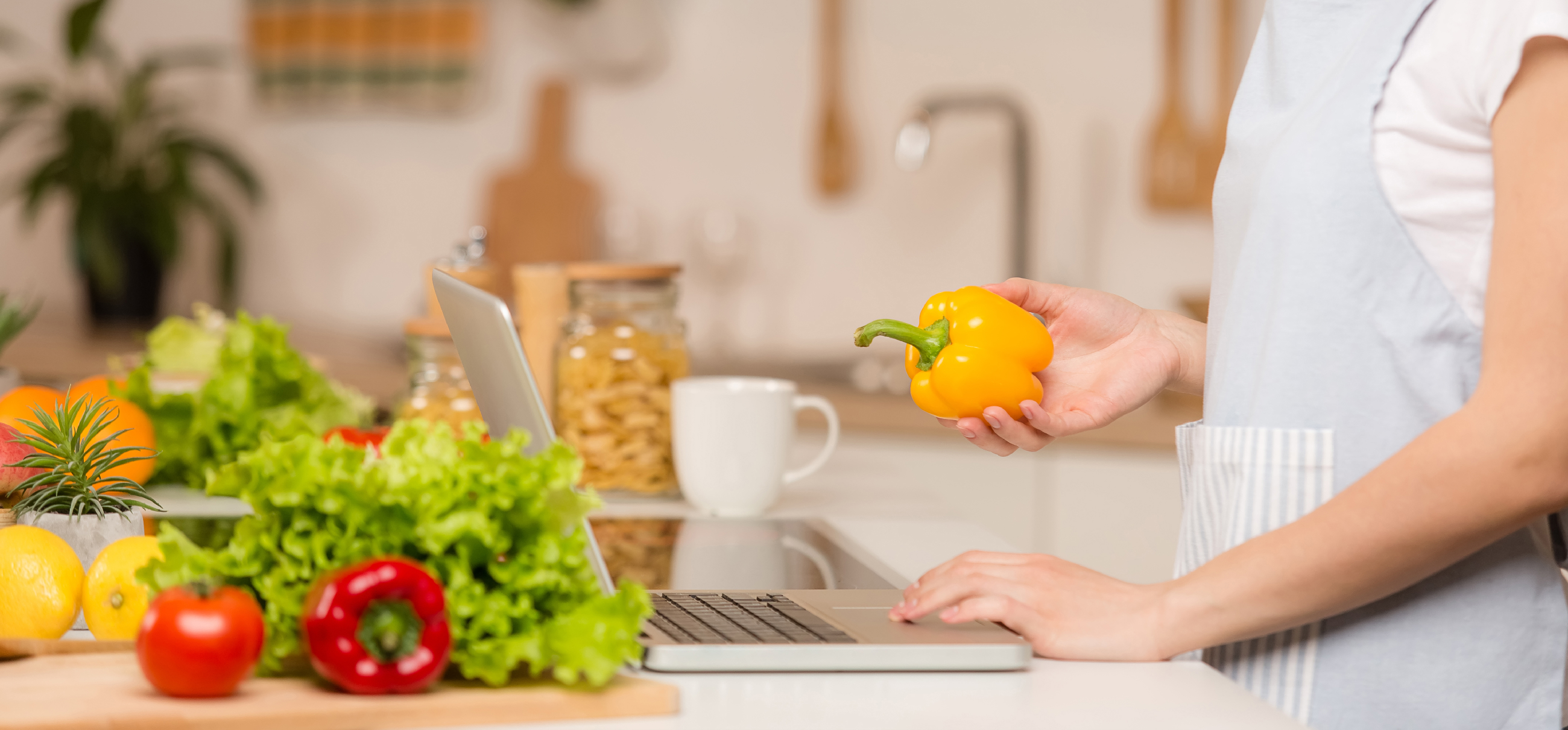 photo of woman in kitchen looking up recipes on laptop